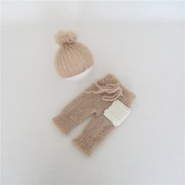 $enCountryForm.capitalKeyWord Australia - Pom Pom Newborn Hat and Pant Knitted Baby Boy Cap Crochet Outfit for newborn Photogaphy Props Handknitted Baby GIrl Bonnet Suit