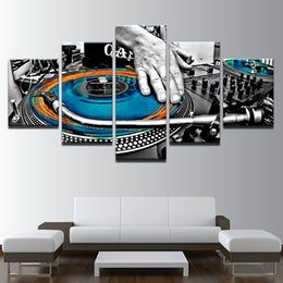 Music Canvas Prints Australia - Modular Wall Art Canvas Posters Modern Home Decor 5 Pieces Hand Plate DJ Music Console Instrument HD Prints Unframed Painting