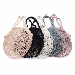 net bag storage UK - Reusable String Shopping Grocery Bag Fruit Vegetables Shopper Tote Mesh Net Woven Cotton Bag Hand Totes Home Storage