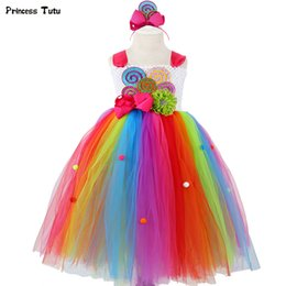LoLLipop dresses online shopping - Rainbow Candy Girls Tutu Dress Sweet Lollipop Flower Girl Birthday Party Dress Children Kids Tulle Tutu Dresses For Girls y J190615