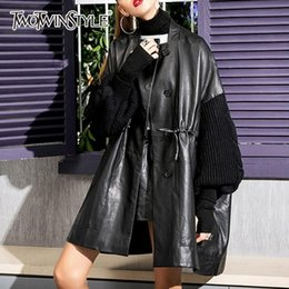 Leather sLeeve jackets for women online shopping - TWOTWINSTYLE Patchwork Knitted Long Sleeve PU Leather Jacket for women Drawstring overcoat female Spring Streetwear Fashion