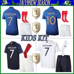 c315aec3c63 2018 World Cup France 2 STAR KIDS soccer jerseys  7 GRIEZMANN short Sleeve  Goalie T Shirt Kits KID uniforms Children fooball jerseys
