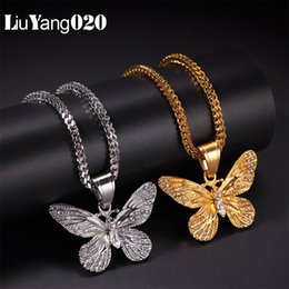 Wholesale Gold Butterfly Necklace Pendant With Rope Chain Silver Color Iced Cubic Zircon Men s Hip hop Jewelry For Gift