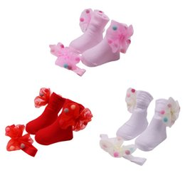 Wholesale Kids Clothes Shoes Australia - 2019 new Newborn Baby Girls Girl Anti-Slip Socks Slipper Shoes + Headband Boots kids clothes Cute Bow suit Baby Socks S(0-12M)