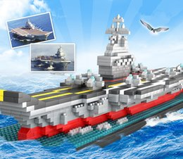model aircraft carriers Australia - TOP DIY Assembly 1300pcs Diamond aircraft carrier 3D warship Boat model builing blocks Bricks education toy kids child gift