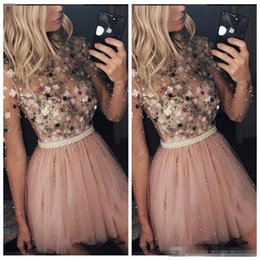 $enCountryForm.capitalKeyWord Australia - Long Sleeves 2019 Tulle Homecoming Cocktail Dresses Beaded Pearls With Petal Adorned Short Special Occasion Party Gowns Graduations Wear