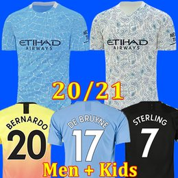man city soccer jerseys NZ - TOP 2020 2021 FC manchester soccer jersey city 20 21 G. JESUS MAHREZ DE BRUYNE KUN AGUERO football shirt MENDY MAN uniforms men + kids kit