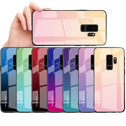 Wholesaler For Back Iphone Color Australia - Tempered Glass Case For Samsung note9 note8 Gradient Color Blue Ray Aurora Skin Back Cover For Galaxy S8 S9 plus iPhone X Huawei Mate20 Case