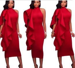 9477713c51 Vestido de las mujeres del verano 2019 Halter sin mangas con volantes  vestido de fiesta de Sexry rojo negro blanco más el tamaño S-2XL Mujer Ropa