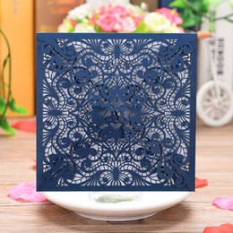 Discount invitation cards for birthdays flower - 40 PCS Square Laser Cut Wedding Invitations Cards Ivory Lace Flower Pattern Invites Card for Qinceanera Engagement Birth