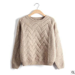 8ec3df252fcf Mujeres Twist Cotton Sweater Girl Sweaters Moda Jersey Mujer Invierno  Suéter Suéter Femme Jumper Otoño Tops calientes KHAKI PINK