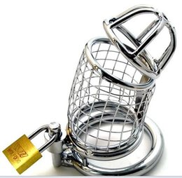 $enCountryForm.capitalKeyWord Australia - Men's Stainless Steel Clam Cage Metal Mesh Lock Fine Ring Abstinence Lock Dog Slave Sex Toys cb6000s