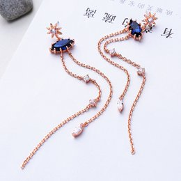 $enCountryForm.capitalKeyWord Australia - Korean Long Earrings Rose Gold Color Copper Glass Zircon Drop Earrings Fashion Jewelry Women Accessories