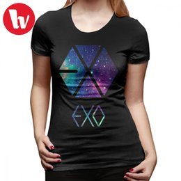 Exo T Shirts Australia - Exo T-Shirt EXO Galaxy T Shirt 100 Cotton Orange Women tshirt New Fashion O Neck Printed Large size Ladies Tee Shirt