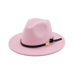 Flat Hats For Women Australia - Fashion TOP hats for men & women Elegant fashion Solid felt Fedora Hat Band Wide Flat Brim Jazz Hats Stylish Trilby Panama Caps Wholesale