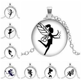 silhouettes glasses 2019 - Hot! New Glass Cabochon Wing Girl Necklace Ballet Dancer Silhouette Glass Dome Pendant Handmade Jewerly cheap silhouette