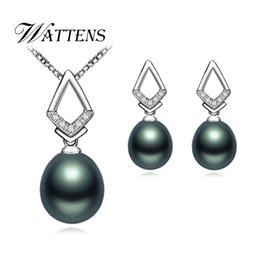 natural black pearls Canada - Pearl Jewelry Sets 925 sterling silver pendant earrings Natural Black pearl necklace earrings for women Vintage Zircon gift 2019