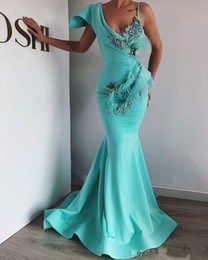 $enCountryForm.capitalKeyWord Australia - New Arrival Elegant Light Green Mermaid Evening Dresses Beaded Feather Prom Dress Sexy Evening Gowns Robe De Soiree Abendkleider