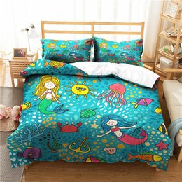 Discount twin bedding sets for adults - A Bedding Set 3D Printed Duvet Cover Bed Set Sea Mermaid Home Textiles for Adults Bedclothes with Pillowcase #MRY37