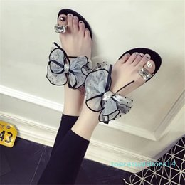 gardening shoe slippers Australia - Women Shoes Size 42 Bowknot Flat Slippers Rhinestone Flip Flop Sandals Girls Beach Flat Flip Flops Women Garden Shoes Mule Femme t14