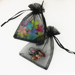 necklace storage pouches NZ - Dark Black 100pcs 13x18cm Organza Drawstring Bags Jewelry Bracelet Necklace Candy Gifts Packaging Storage Bags Pouches Wholesale