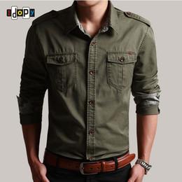 Military Collar Shirts Australia - Idopy Casual Mens Pilot Shirt Long Sleeve Patchwork Pocket Shirts Men Hoodies Fashion Army Military Style Shirts For Male Y190506