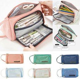 roll up travel cosmetic bag NZ - Cosmetic Canvas Pencil Case Portable Travel Make Up Toiletry Bag Zipper Pencil Case School Supplies Art Pen Bag Pouch Wrap Roll