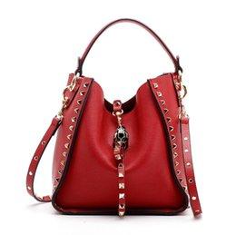 $enCountryForm.capitalKeyWord Australia - 2019 Fashion Rivet Handbags For Women Brand Leopard Shoulder Bags Genuine Cowhide Leather Cross Body Bucket Bag Wholesale