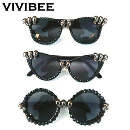827fb256414f3 2019 Trend Women Black Skull Rhinestone Sunglasses Gorgeous UV400 Ghost Cat Eye  Sun Glasses for Ladies Round Shades