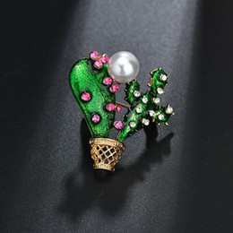 $enCountryForm.capitalKeyWord Australia - Green Enamel Cactus Brooch Kids Lady Crystal Plant Corsage Suit Scarf Dress Decoration Gold-color Jewelry Pins b437