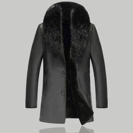 Venta al por mayor de 2018 chaqueta de cuero de invierno de los hombres casuales cuello de piel de la capa de la motocicleta de cuero de imitación chaqueta de los hombres gruesos largos negro ropa
