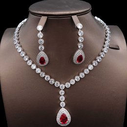 Bridesmaids African Fashion Australia - new fashion personality Dubai African bridal bridesmaid bridesmaid Wedding zircon Jewelry Set 925 silver necklace