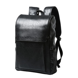 Fashion Pu Leather Men Backpack Rucksack Teenager School Bag Male Laptop  Big Capacity Men Travel Bags College Back Bags Feminina 1690de91bcc09