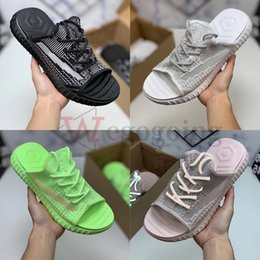Discount lime green sandals 2020 Summer Fashion Designer Slippers Kanye Clay Oreo Static Green Hyperspace v2 35O Slides 3m Reflective Mens Women San