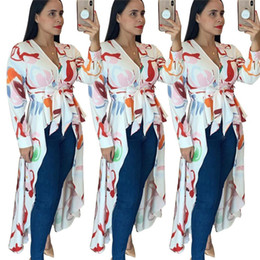 $enCountryForm.capitalKeyWord Australia - Sexy Printed Shirt Dress Women Full Sleeve Sashes High Split Maxi Long Autumn Dress Elegant Causal V-Neck Irregular Party Dress