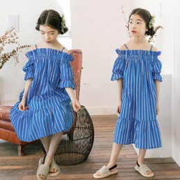 Lolita Flared Dress Australia - 2019 Summer girls stripe dresses kids ruffle dew shoulder princess dress children flare sleeve falbala dress mother daughter dresses F7062