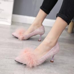 Heels Inches Australia - Lucky2019 Inch Three Baby High-heeled Woman Fine With Joker Single Shoe Sexy Sharp Autumn Women's Shoes
