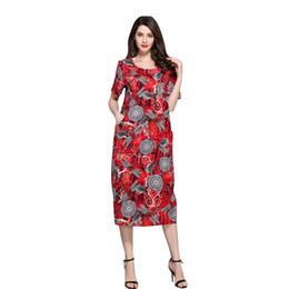$enCountryForm.capitalKeyWord UK - Women Vintage Dress Loose Fit Dragonfly Print Scoop Collar Casual Dress Spring Summer Vestidos