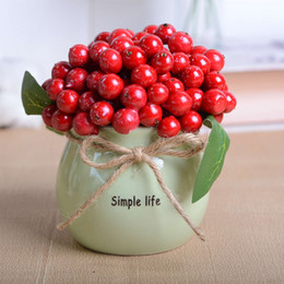 $enCountryForm.capitalKeyWord Australia - Potted Artificial Plant Berry Fruit Bonsai Stage Garden Wedding Party Decor Red Mulberry Fruits in White Ceramic Pot Cute Table Decoration