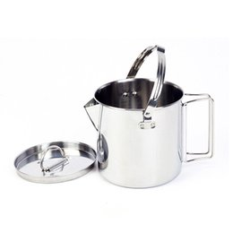 outdoors cookware Australia - Outdoor Stainless Steel Kettle 1.2L Hiking Camping Teapot Portable Hanging Pot Cookware Coffee Pot Picnic Pot