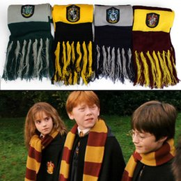 China Winter Scarves Harry Potter Scarf Cosplay Costume Series Scarves Cute Wraps Badge Knit Tassel Scarves halloween prop 4 colors ZZA844 cheap wholesale harry potter scarves suppliers