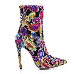 $enCountryForm.capitalKeyWord NZ - Gorgeous2019 Decorative Unique Pattern Style Super High Woman Fine Boots With Sharp Colorful