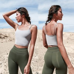 Wholesale navel shirts resale online – Outdoor Athletic Activewear Shirt Crop Tops Multi Colors Double Shoulder Strap Sports Yoga Apparel Vest Exposing Navel Tank S M L yw E19