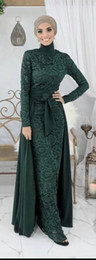 $enCountryForm.capitalKeyWord Australia - Dark Green Muslim Long Evening Dresses Arabic Long Sleeves Lace Hijab Dresses with Detachable Skirt Robe De Soiree Longue Dubai Gowns
