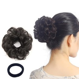 Wholesale Curly Wavy Updo Hair Bun Extensions Wavy Donut Updo Scrunchy Curly Hairpieces Natural Hair for Women Kids Donut Updo Ponytail Hair Chignons