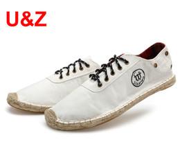 $enCountryForm.capitalKeyWord Australia - Stylish Canvas Denim Espadrilles Driving Shoes for Men(white blue black)match Jeans,light shoes Casual Sneakers male size 38-45