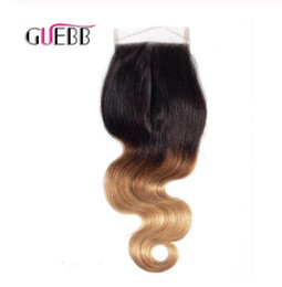 $enCountryForm.capitalKeyWord Australia - Pre-Colored Ombre Brazilian Body Wave #1B 4 27 Free Middle Three Part Lace Closure 8-22 Inch Non Remy 1b 4 27 Human Hair