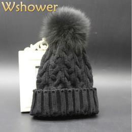 $enCountryForm.capitalKeyWord Australia - Lady Big 100% Genuine Fox Fur Pompon Winter skullies beanies Female Warm Wool Fur Pompon Cable Knit Hat Cap Bonnet For Women
