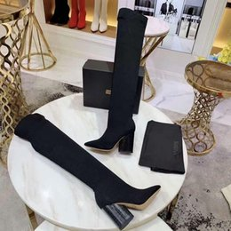 korean style shoes winter NZ - 2019 Autumn Winter Fashion thin heel shoe Cloth Over The Knee Thigh High Stretch Boots korean style Women's Fashion