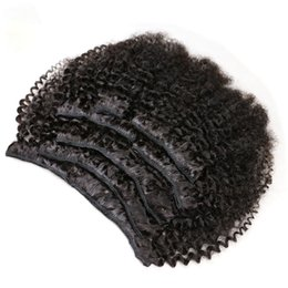 Discount unprocessed afro kinky virgin hair extensions - 7pcs  set Afro Kinky Curly Clip Hair Extensions 120g 100% Unprocessed Virgin Mongolian Hair Kinky Curly Clip In Human Re